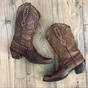 Ariat rhinestone leather cowgirl boots sassy brown